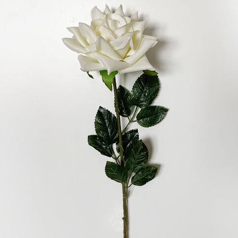 WELLHOME Rose artificielle en velours blanc 75 cm