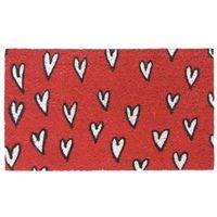 Wellindal Felpudo rojo corazones 40x70cm