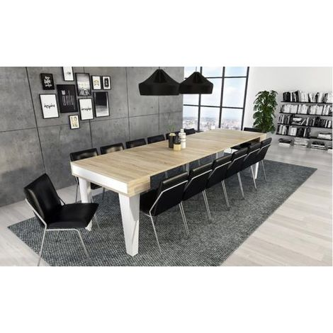 Wellindal Mesa de comedor consola extensible Nordic KL hasta 300 cm ...