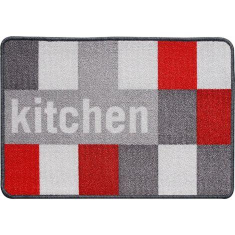 Wellindal Tapis de cuisine carrés gris 44x65 cm
