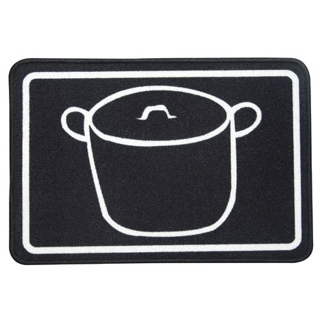 Wellindal Tapis pour pots de cuisine noir 44x65 cm