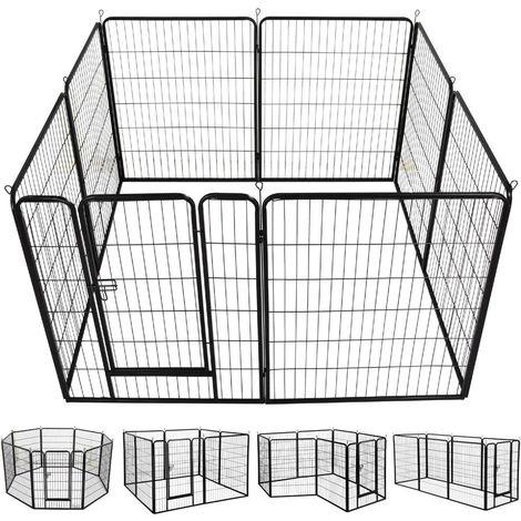Welpenlaufstall Freilaufgehege Welpenauslauf Hundelaufstall Tierlaufstall für Kleintiere, mit Tür (8 Panele 80 x 100 cm)