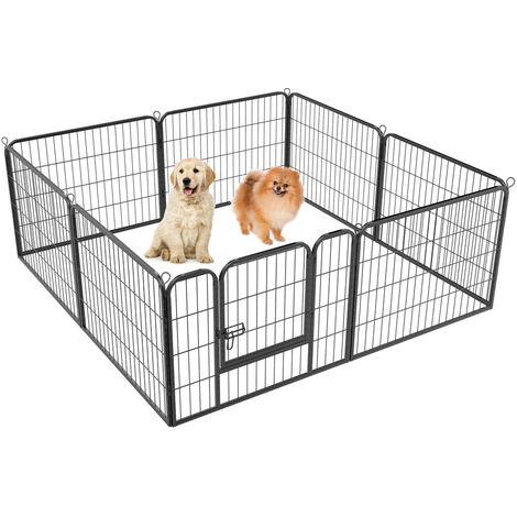 Welpenlaufstall Freilaufgehege Welpenauslauf Hundelaufstall Tierlaufstall für Kleintiere, mit Tür