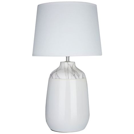 Wenita Table Lamp, White Ceramic, White Fabric Shade