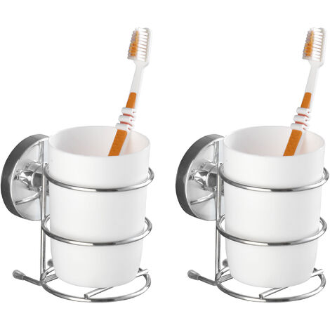 WENKO 2er Set Zahnputzbecher Vacuum-Loc® Zahnpasta Becher Zahnbürstenhalter