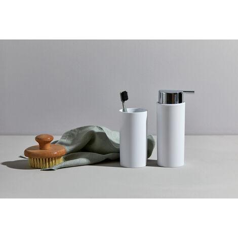WENKO 4er Set Bad Garnitur Accessoires Mülleimer WC Bürste Seifen Spender Becher