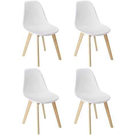 WENKO Chaise Scandinave blanche Sala, chaise cuisine, salle à manger, pieds en hêtre massif, Lot de 4