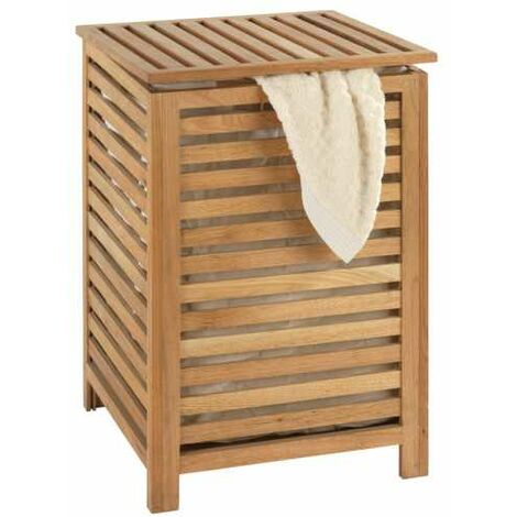 WENKO Coffre à linge bois, panier à linge bois, Norway, 45x65x45 cm