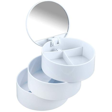 Wenko Cosmetic Tower 3 Shelves/Mirror White