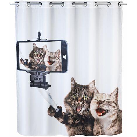 WENKO Duschvorhang Anti Schimmel Duschrollo Badewannenvorhang Katzen Selfie