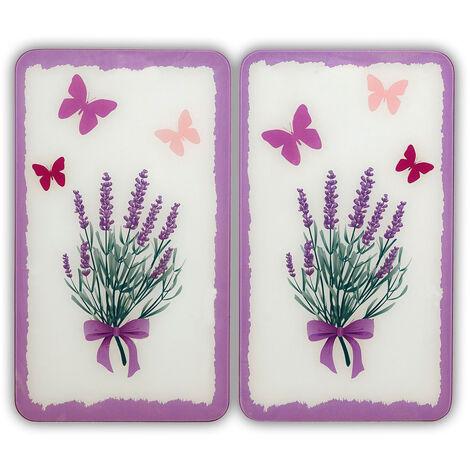 WENKO Glasabdeckplatte Universal Lavendel-Bouquet, 2er Set Herdabdeckung Ceranfeld