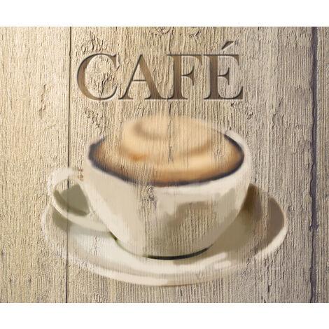 WENKO Glasrückwand Café, 60 x 50 cm Küchenrückwand Herdwand Wanddekor Wandschutz