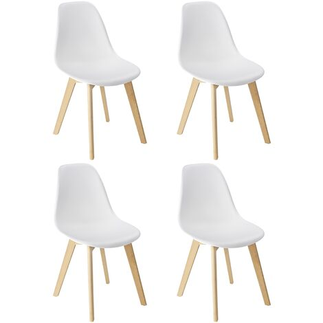 """main image of """"WENKO Juego de 4 sillas de comedor de diseño escandinavo blancas con patas de madera maciza de haya"""""""