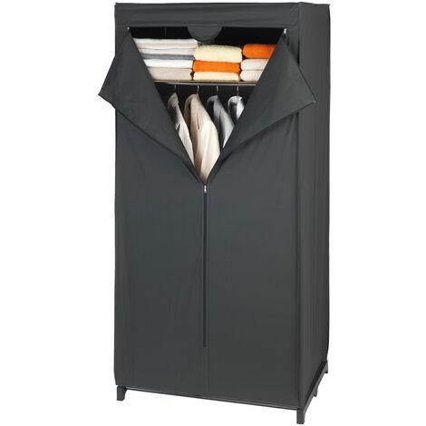 WENKO Kleiderschrank Deep Black mit Ablage Kleideraufbewahrung Kleiderregal