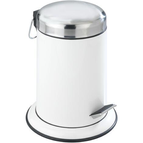 WENKO Kosmetik Treteimer Retoro Weiß Abfalleimer Mülleimer Abfallsammler Badeimer