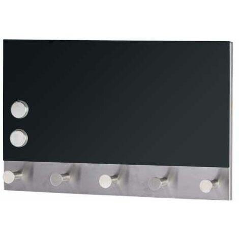 WENKO Magnetische Garderobe Black, 5 Haken, 30 x 19 cm Schlüsselboard Schlüsselkasten