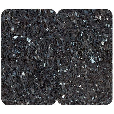 Wenko Plaques de cuisson, aspect granit, en verre, noir/bleu clair, chatoyantes, lot de 2