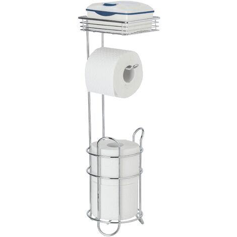 WENKO Porte papier papier toilette avec range papier toilette et étagère de rangement, acier chromé