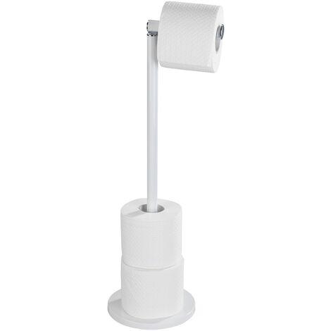WENKO Porte papier toilette blanc et réserve papier toilette, 2en1, blanc mat