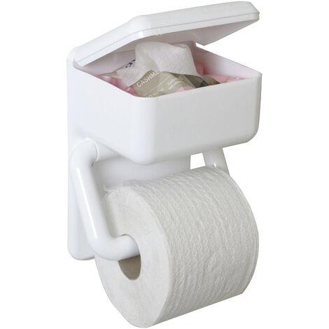 Wenko Porte-rouleau de papier toilette duo, avec boîte de lingettes humides