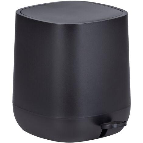 """WENKO Poubelle à pédale design, fermeture automatique """"easy close"""", Capacité 5L, Davos, noir"""