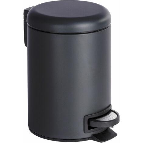 Wenko Poubelle cosmetique à pedale 3L en acier noir 22,5 x 17 x 25 cm