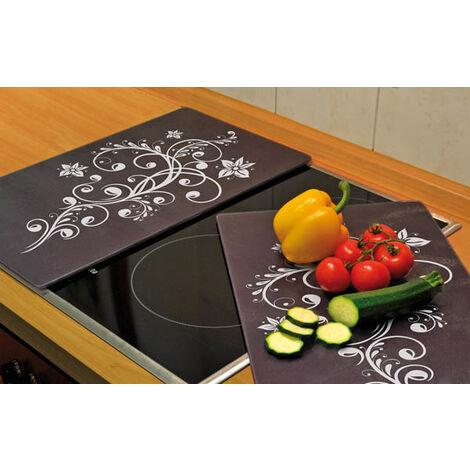 Wenko Protège plaques de cuisson 3 en 1, motif décoratif, 52 x 30 cm, lot de 2