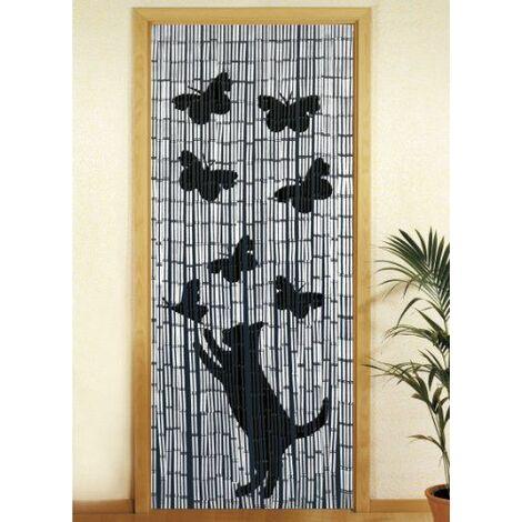 "main image of ""Wenko Rideau en bambou 90 x 200 cm Katze und Schmetterling"""
