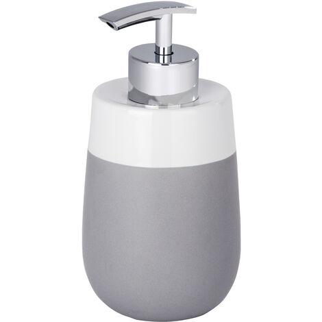 WENKO Seifenspender Malta Grau/Weiß Duschlotion-Spender Badezimmer-Spender