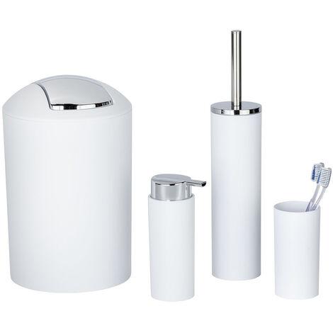 WENKO Set accessoires salle de bain Calvo: distributeur de savon liquide, gobelet brosse à dent, brosse WC, poubelle salle de bain blanche, chromé