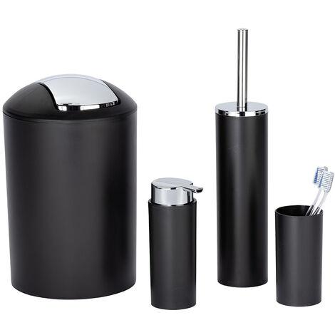 WENKO Set accessoires salle de bain Calvo: distributeur de savon liquide, gobelet brosse à dent, brosse WC, poubelle salle de bain noire, chromé
