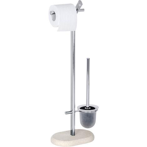 WENKO Stand Toilettenbürstenhalter WC Garnitur Bürste Toilettenpapierhalter Puro