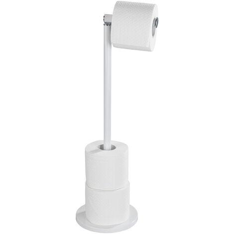 WENKO Stand Toilettenpapierhalter 2 in 1 Weiß Ersatzrollenhalter Papierrolle