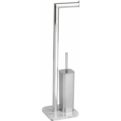 Wenko Stand WC-Garnitur Onyx, Marmor - Gestell: Chrom, Bodenplatte: Weiß