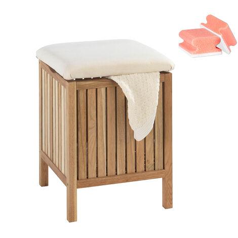 WENKO Tabouret panier à linge bois, coffre à linge bois, Norway style scandinave, 65L