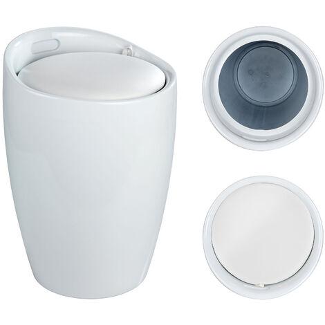 WENKO Tabouret Panier à linge, coffre à linge et tabouret salle de bain, coussin amovible, similicuir blanc, 20 litres, 35 x 50 x 35 cm