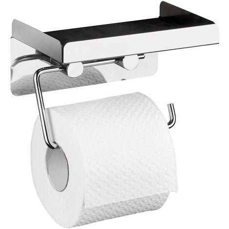WENKO Toilettenpapierhalter 2 in 1, Edelstahl rostfrei Ersatzrollenhalter Papierrolle