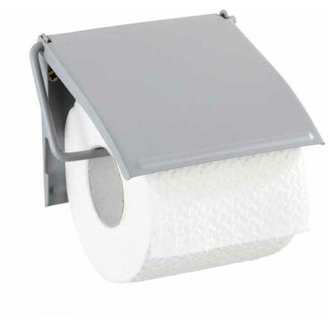 WENKO Toilettenpapierhalter Klopapierhalter Klorollenhalter Edelstahl Cover Grau