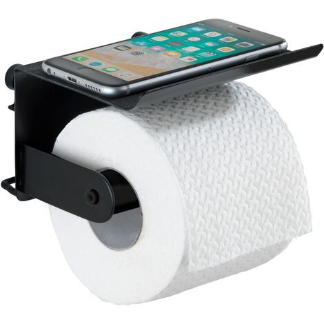 WENKO Toilettenpapierhalter mit Ablage Classic Plus Black