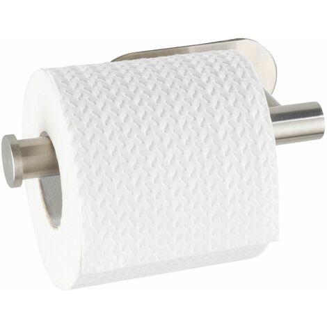 WENKO Toilettenpapierhalter Salve Edelstahl Matt ohne bohren selbstklebend Matt 17 x 8