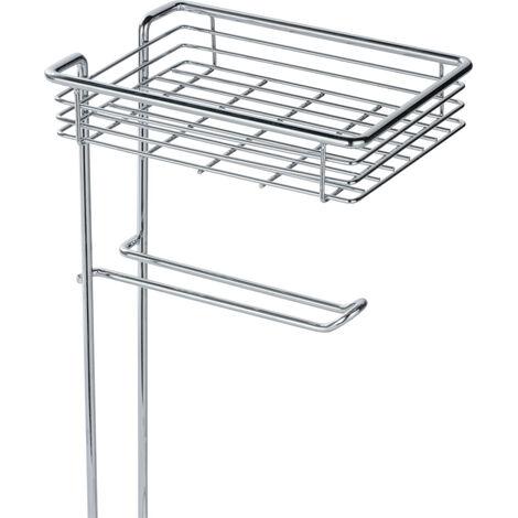 WENKO Toilettenpapierhalter stehend mit Ablage und Ersatzrollenhalter, Chrom