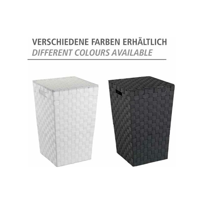 WENKO Wäschetruhe Adria Square Schwarz Wäschekorb Wäschetruhe Wäschesack Wäsche