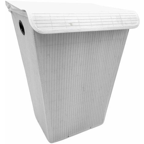 Wenko Wäschetruhe mit Sack + Deckel Weiß 55L Wäschekorb Bamboo 45x60x33cm Bambus