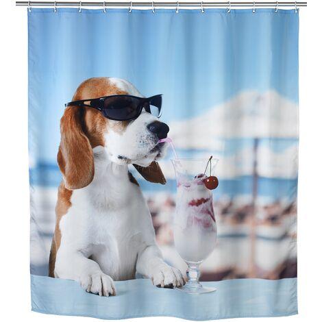 WENKO Wasserabweisender Duschvorhang Cool Dog Duschrollo Badewannenvorhang