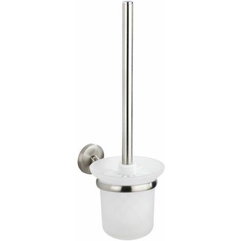 Wenko WC-Garnitur Cuba Matt, WC-Bürstenhalter aus rostfreiem Zinkdruckguss - Matt