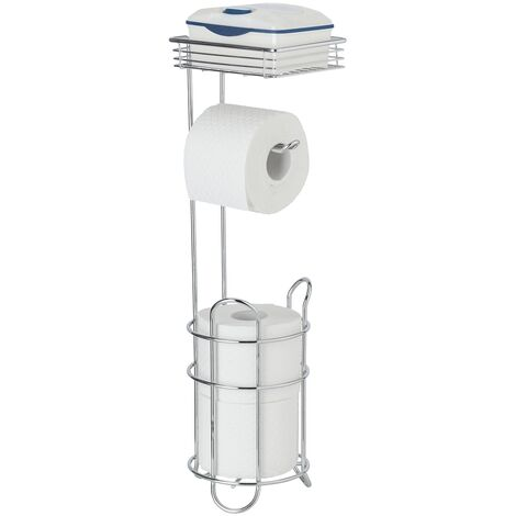 WENKO WC Toiletten Papier Rollen Halter mit Ablage stehend Chrom Klo Ersatz Bad
