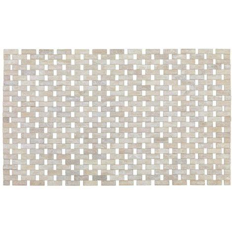 Wenko White Bamboo Bathroom Mat 50 x 80 cm