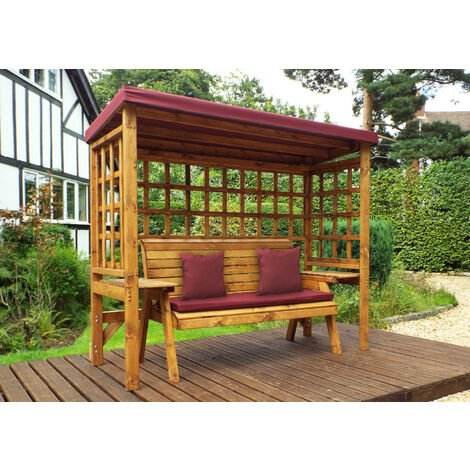 Wentworth Three Seater Arbour Burgundy - Fully Assembled