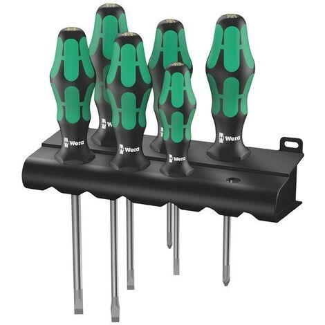 Wera Schraubendrehersatz Schraubendrehersatz 334/6 6-teilig Schlitz / PH 2-Komponentengriff Rundklinge