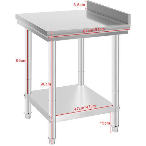 Werkbank Arbeitstisch Edelstahl Küchentisch 61*61*90cm